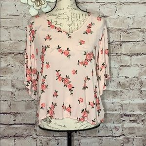 Miss Me pink embroidered blouse